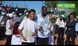 An 18-year-old Gael Monfils lifts the trophy at the inaugural Tunis Open in 2005.