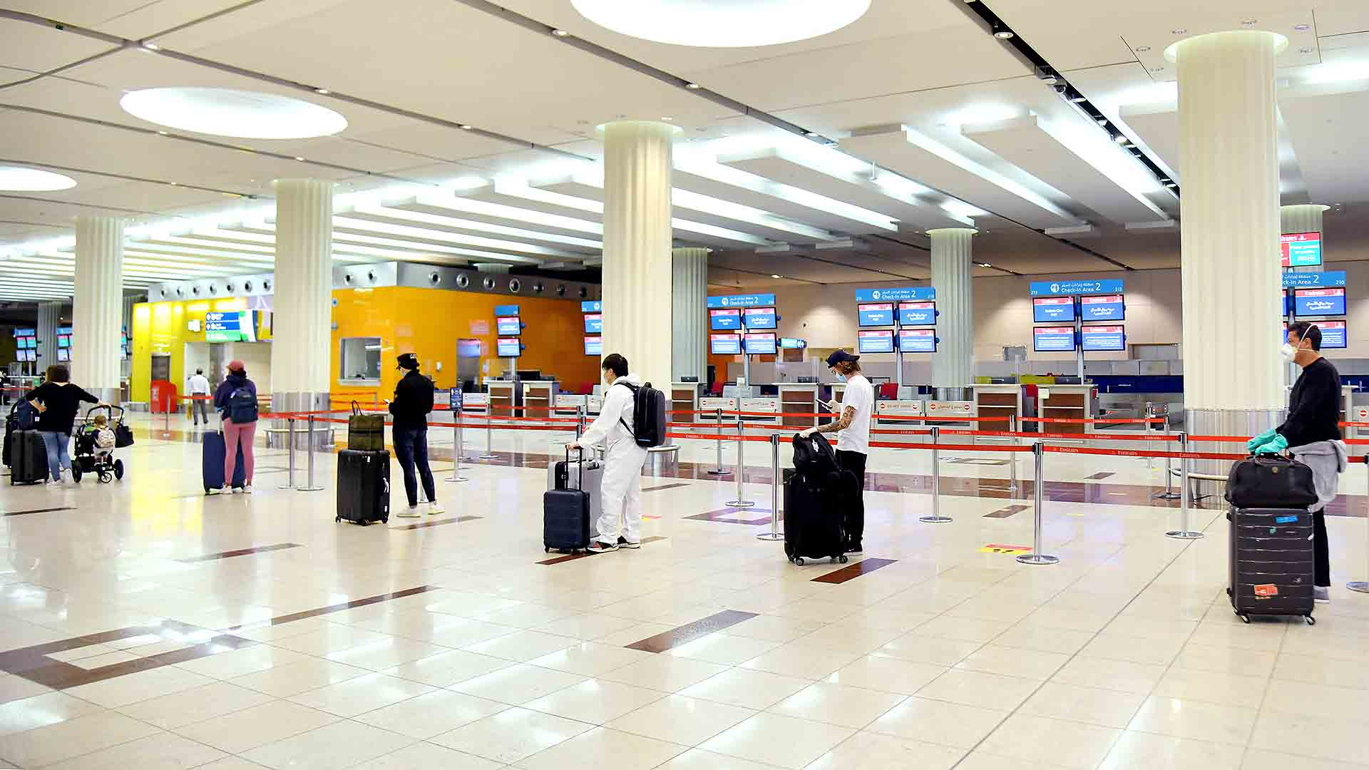 At Dubai International Airport, physical distancing indicators have been placed on the ground and at waiting areas.