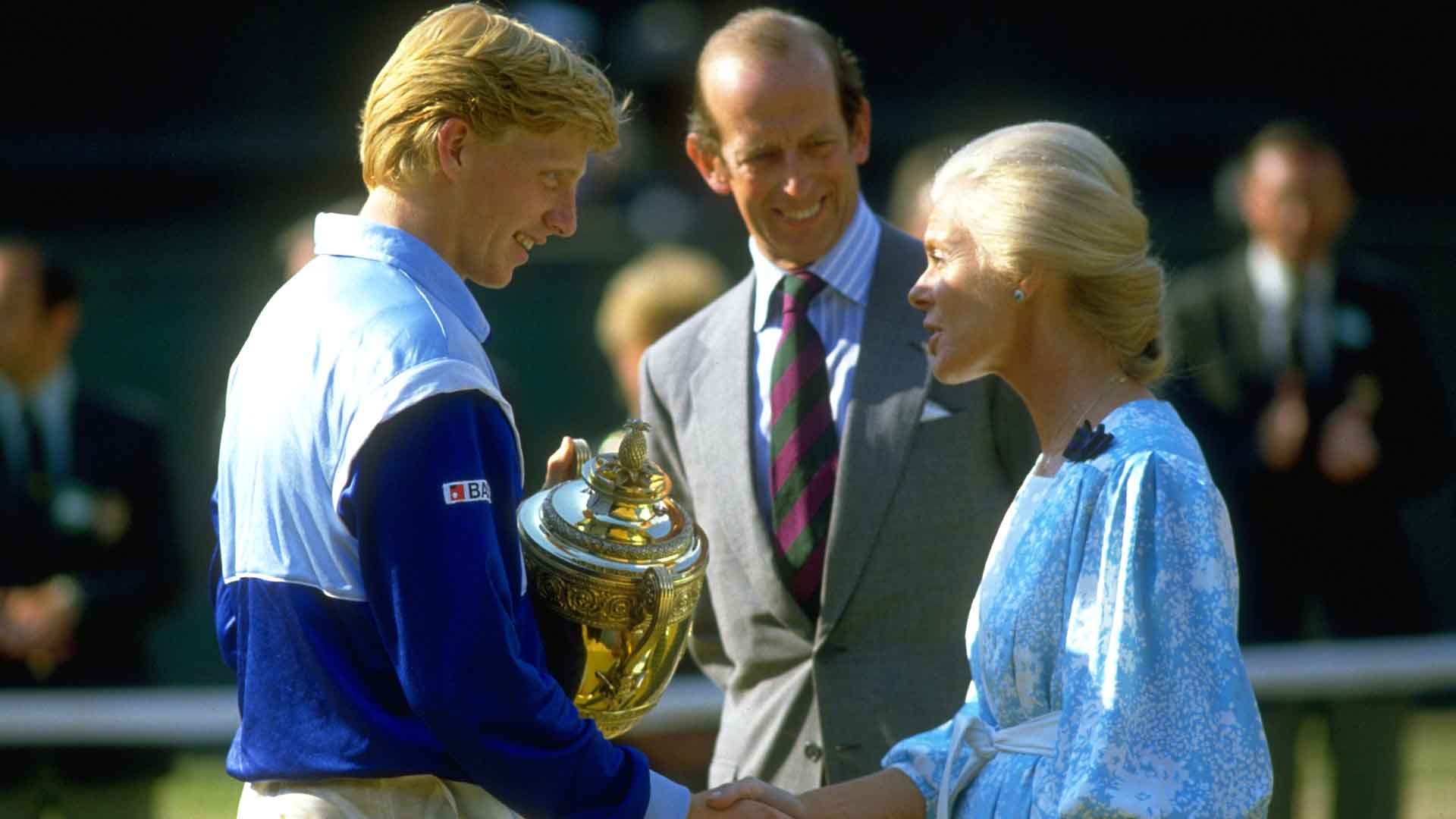 Boris Becker beats Kevin Curren to lift the 1985 Gentlemen's Singles title at Wimbledon.