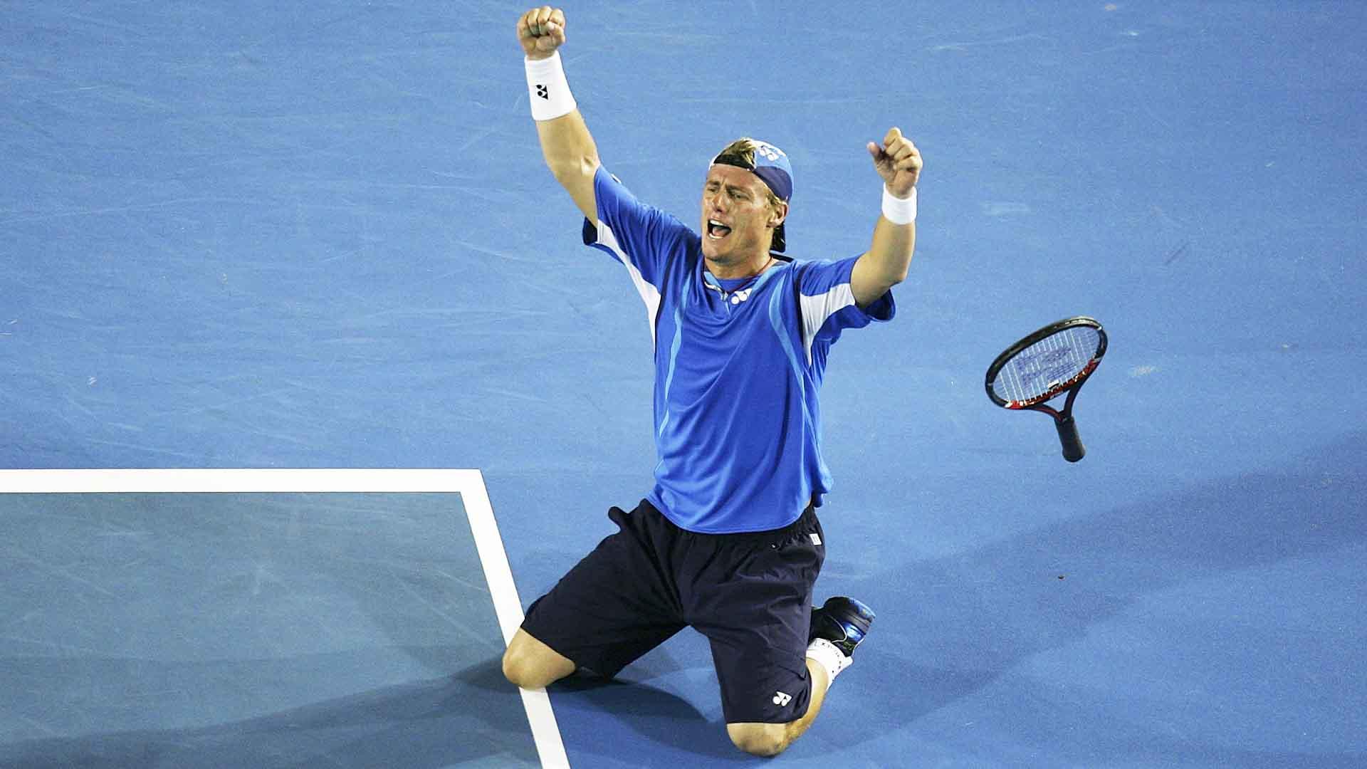 <a href='/en/players/lleyton-hewitt/h432/overview'>Lleyton Hewitt</a> beats <a href='/en/players/marcos-baghdatis/b837/overview'>Marcos Baghdatis</a> in five sets at the <a href='/en/tournaments/australian-open/580/overview'>Australian Open</a> in 2008.