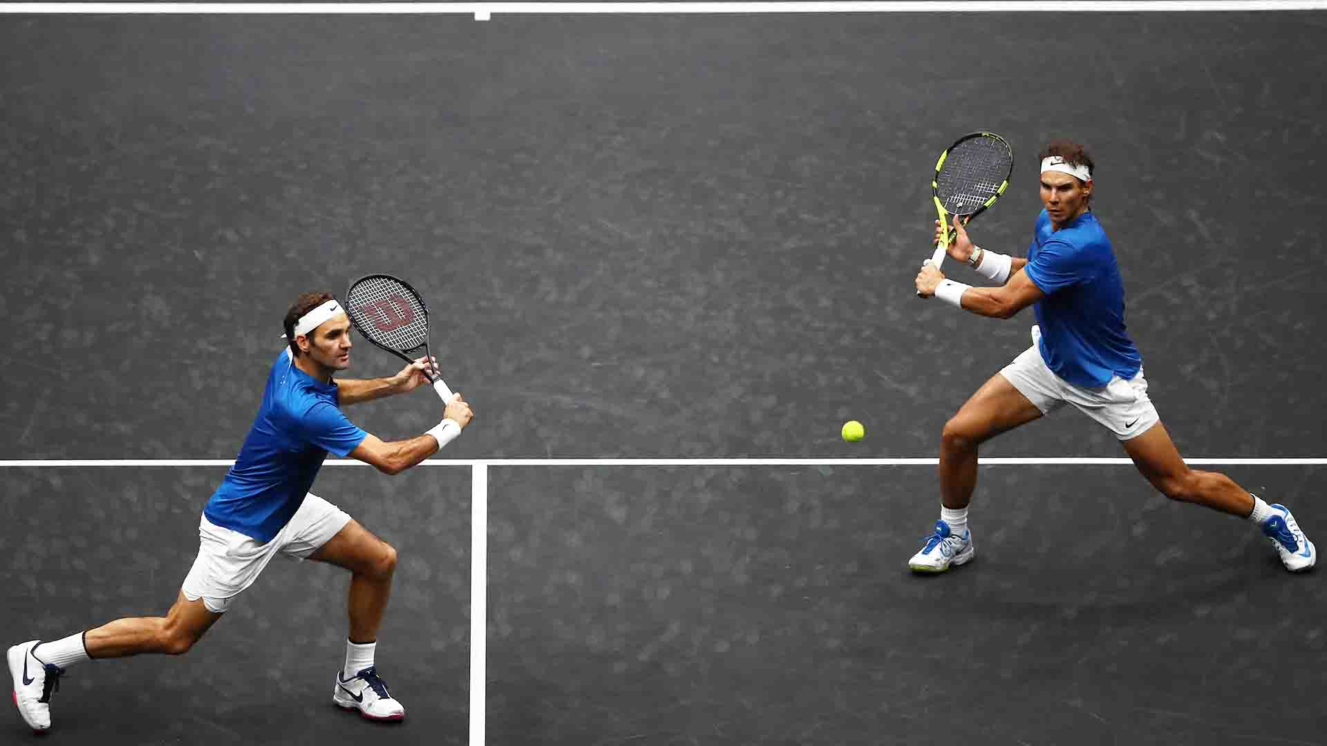 <a href='/en/players/roger-federer/f324/overview'>Roger Federer</a> and <a href='/en/players/rafael-nadal/n409/overview'>Rafael Nadal</a> played their first doubles match as a team at the 2017 <a href='/en/tournaments/laver-cup/9210/overview'>Laver Cup</a> in Prague.