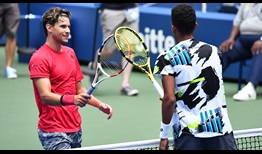 Dominic Thiem defeats Felix Auger-Aliassime in their first ATP Head2Head meeting to reach the US Open quarter-finals.