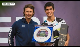 Spanish teen Carlos Alcaraz (right) won his first ATP Challenger Tour title under the tutelage of former World No. 1 Juan Carlos Ferrero.