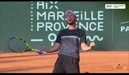 Oscar Otte celebrates his first ATP Challenger Tour title in three years, in Aix-en-Provence.