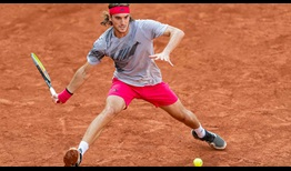 Second seed Stefanos Tsitsipas battles hard to beat Pablo Cuevas on Thursday in Hamburg.