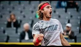 Second seed Stefanos Tsitsipas grows in confidence during a straight sets win over Dusan Lajovic on Friday in Hamburg.