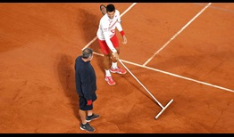 Djokovic Roland Garros 2020 Day 7 Clay Brush