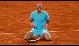 Rafael Nadal captures a record-extending 13th Roland Garros title and equals Roger Federer's record haul of 20 Grand Slam crowns at 2020 Roland Garros.