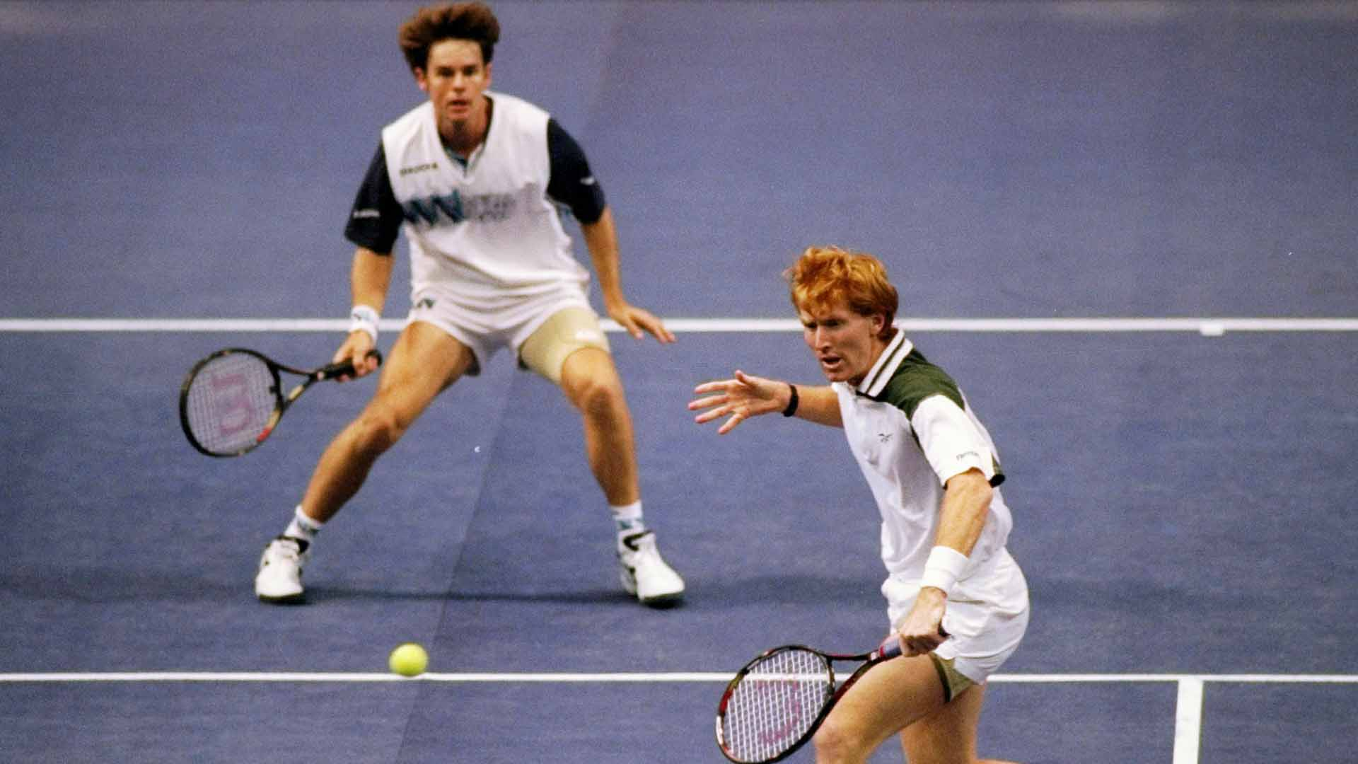 <a href='/en/players/todd-woodbridge/w136/overview'>Todd Woodbridge</a> and <a href='/en/players/mark-woodforde/w035/overview'>Mark Woodforde</a> claimed the <a href='/en/tournaments/nitto-atp-finals/605/overview'>Nitto ATP Finals</a> trophy in 1992 and 1996.