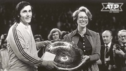 Ilie Nastase is presented with his fourth Masters trophy by Sweden's Princess Christina in Stockholm, 1975.