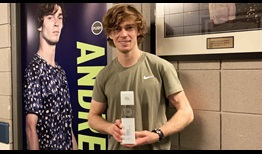 Andrey Rublev was presented with his ATP Top 10 trophy at the Nitto ATP Finals after breaking into the Top 10 of the FedEx ATP Rankings for the first time on 12 October.