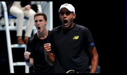 Rajeev Ram and Joe Salisbury defeat Kevin Krawietz and Andreas Mies in a Match Tie-break to reach the Nitto ATP Finals semi-finals.