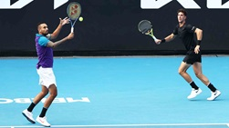 Thanasi Kokkinakis (right) and Nick Kyrgios (left) are making their third team appearance at the Australian Open.
