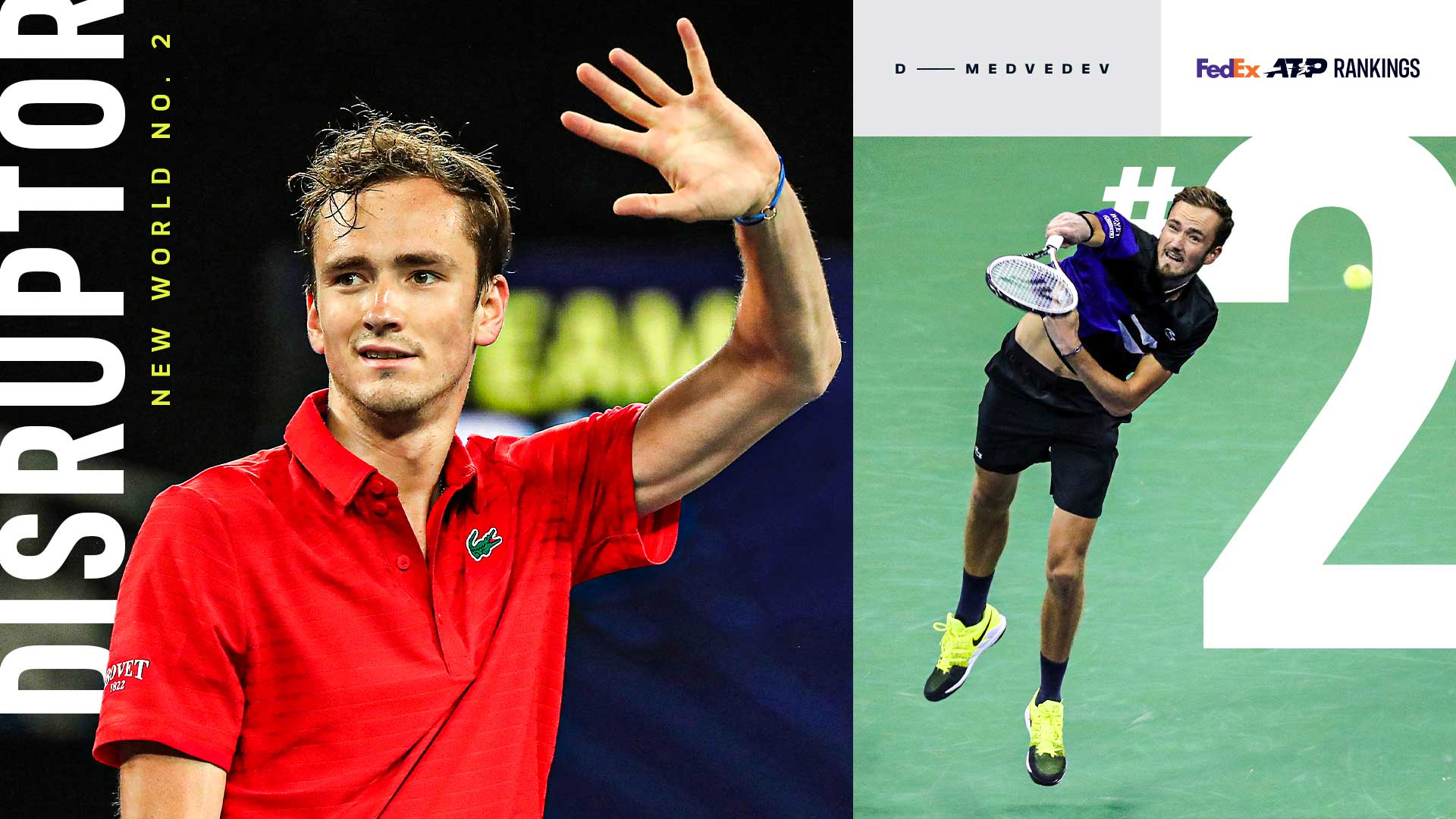 Daniil Medvedev is the first player outside of the Big Four to enter the Top 2 in the FedEx ATP Rankings since Lleyton Hewitt in July 2005.