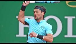 Fabio Fognini breaks Filip Krajinovic's serve three times to reach the Monte-Carlo quarter-finals.