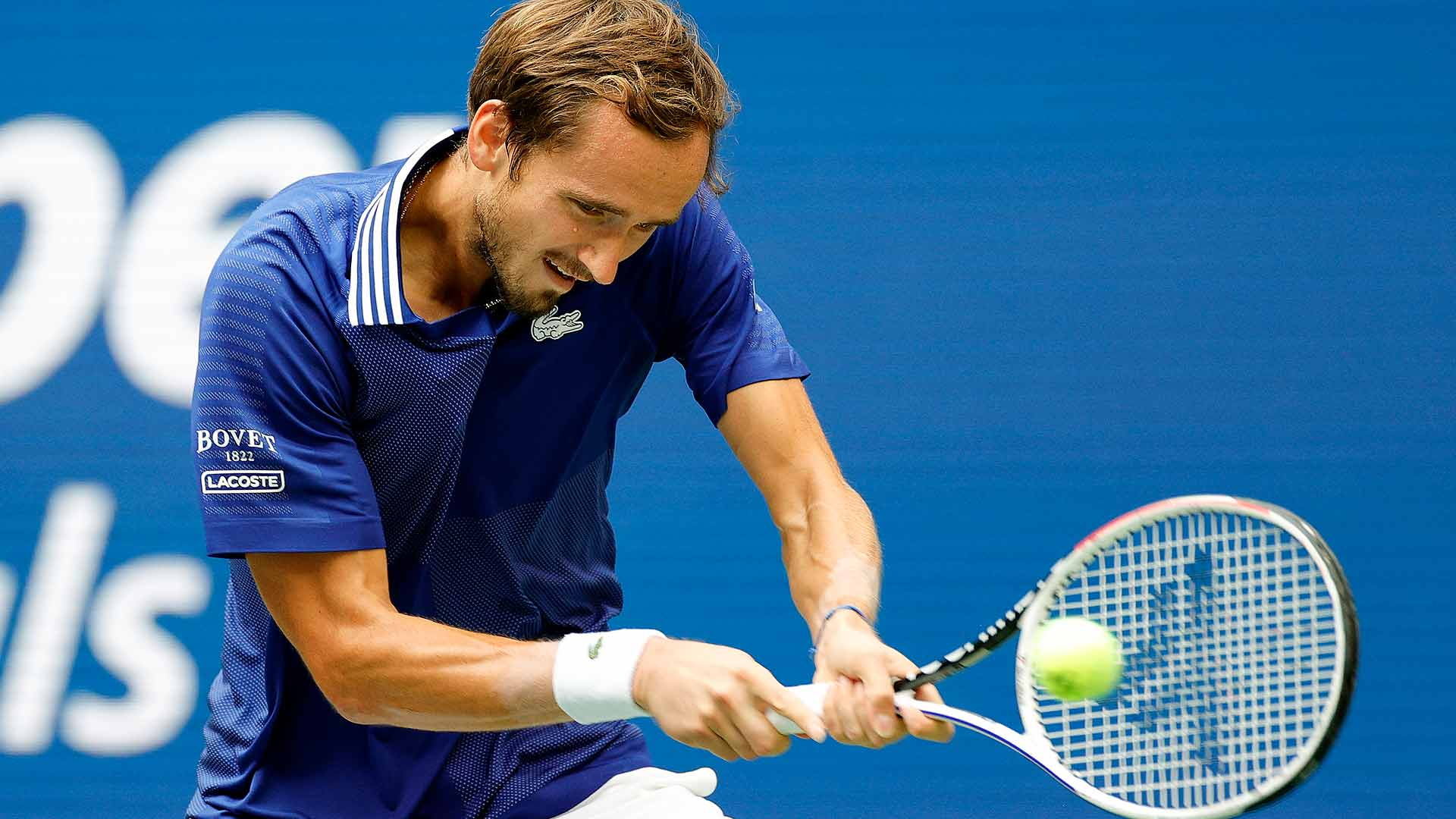 """<a href='https://www.atptour.com/en/players/daniil-medvedev/mm58/overview'>Daniil Medvedev</a>""""><br /><em><sup>Photo Credit: Sarah Stier/Getty Images<br /></sup></em>Djokovic looked to quickly seize the momentum at the start of the second set, putting more returns in play to take a 0/40 advantage. The 85-time tour-level titlist was unable to convert though, missing a neutral backhand slice into the net on his last opportunity of the game.</p> <p>The Serbian earned two more chances in his next return game. But Medvedev showed no fear, hitting a massive backhand down the line off his back foot to save one and crushing a big serve to save the other, leading to Djokovic's racquet smash.</p> <p>Medvedev embraced the pressure of the moment throughout the match. The reigning <a href="""