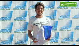 Joao Domingues lifts the Mestre trophy after his third ATP Challenger Tour main draw.