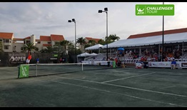 The green clay at the Elizabeth Moore Sarasota Open provides a tough test for the players.