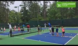 Children enjoy time out on the courts at the ATP Challenger Tour event in Savannah, Georgia.