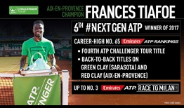 Frances Tiafoe climbs to No. 65 in the Emirates ATP Rankings after title success in France.
