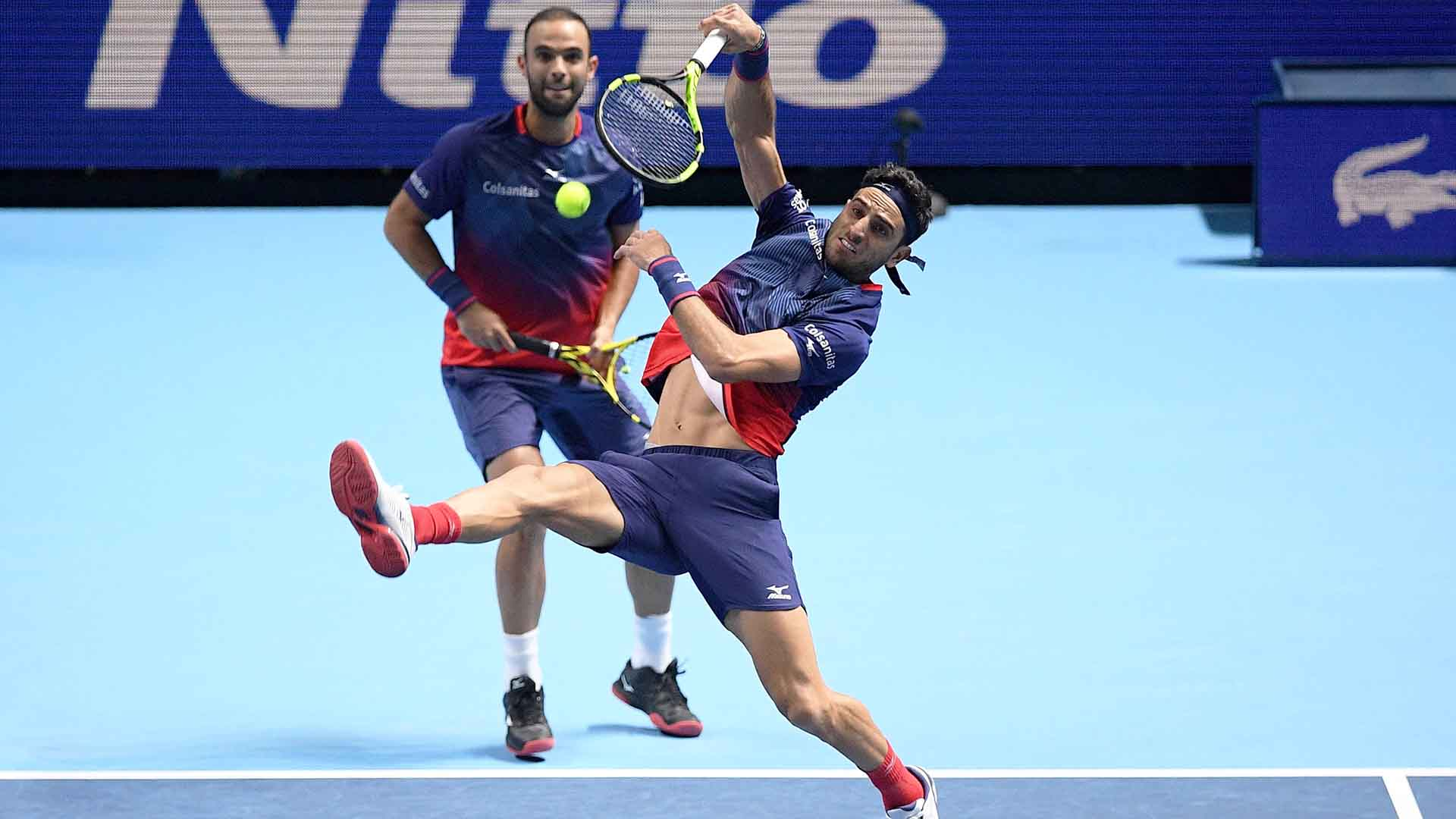 <a href='https://www.atptour.com/en/players/juan-sebastian-cabal/c834/overview'>Juan Sebastian Cabal</a> and <a href='https://www.atptour.com/en/players/robert-farah/f525/overview'>Robert Farah</a> exit the <a href='https://www.atptour.com/en/tournaments/nitto-atp-finals/605/overview'>Nitto ATP Finals</a> at the semi-final stage for the second straight year.