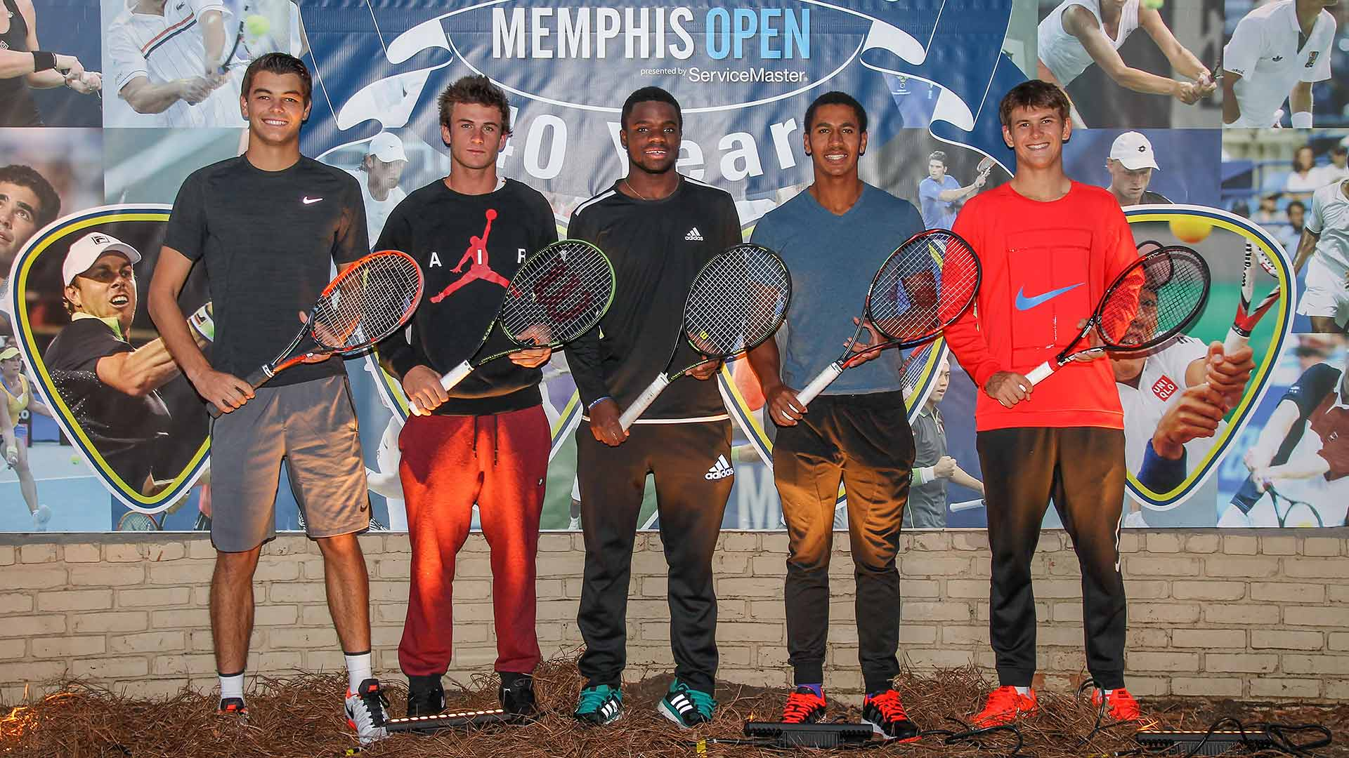 American teens Taylor Fritz (18), Tommy Paul (18), Frances Tiafoe (18), Michael Mmoh (18) and Jared Donaldson (19) in Memphis.