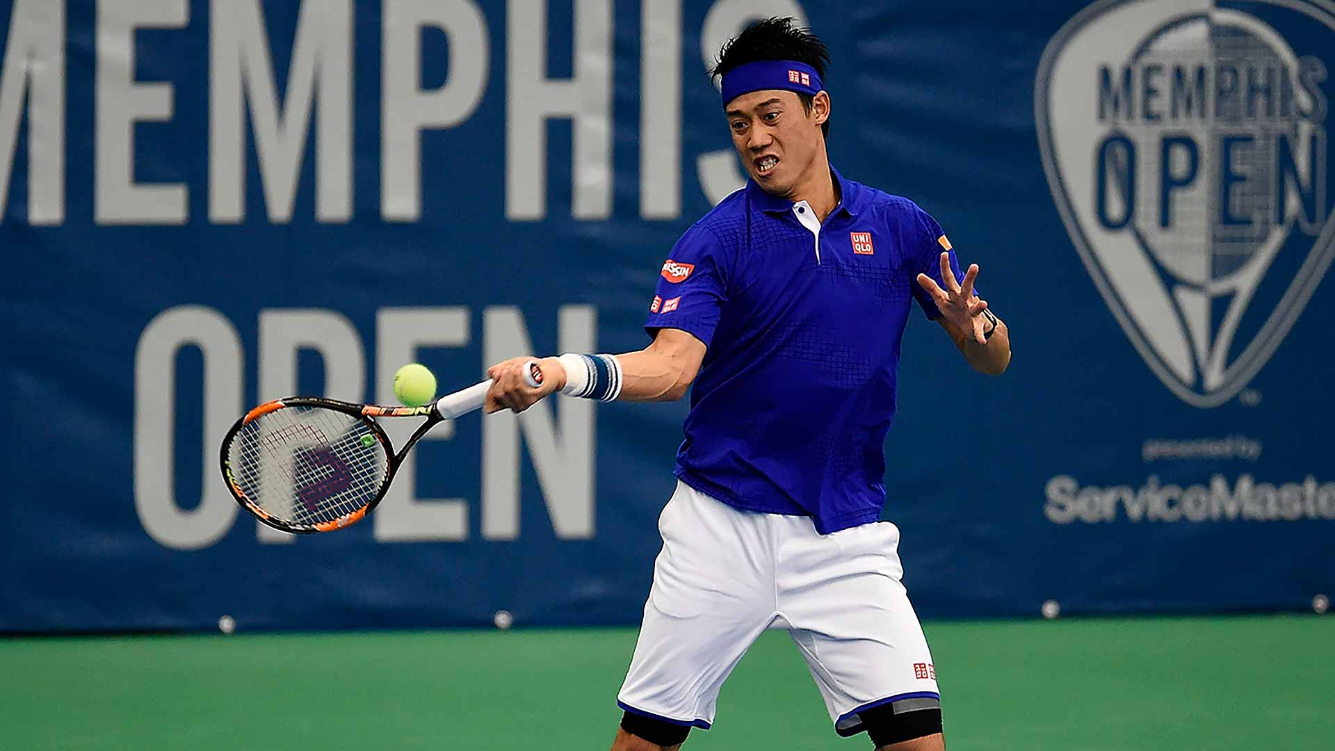Top seed Kei Nishikori fires into the Memphis semi-finals.