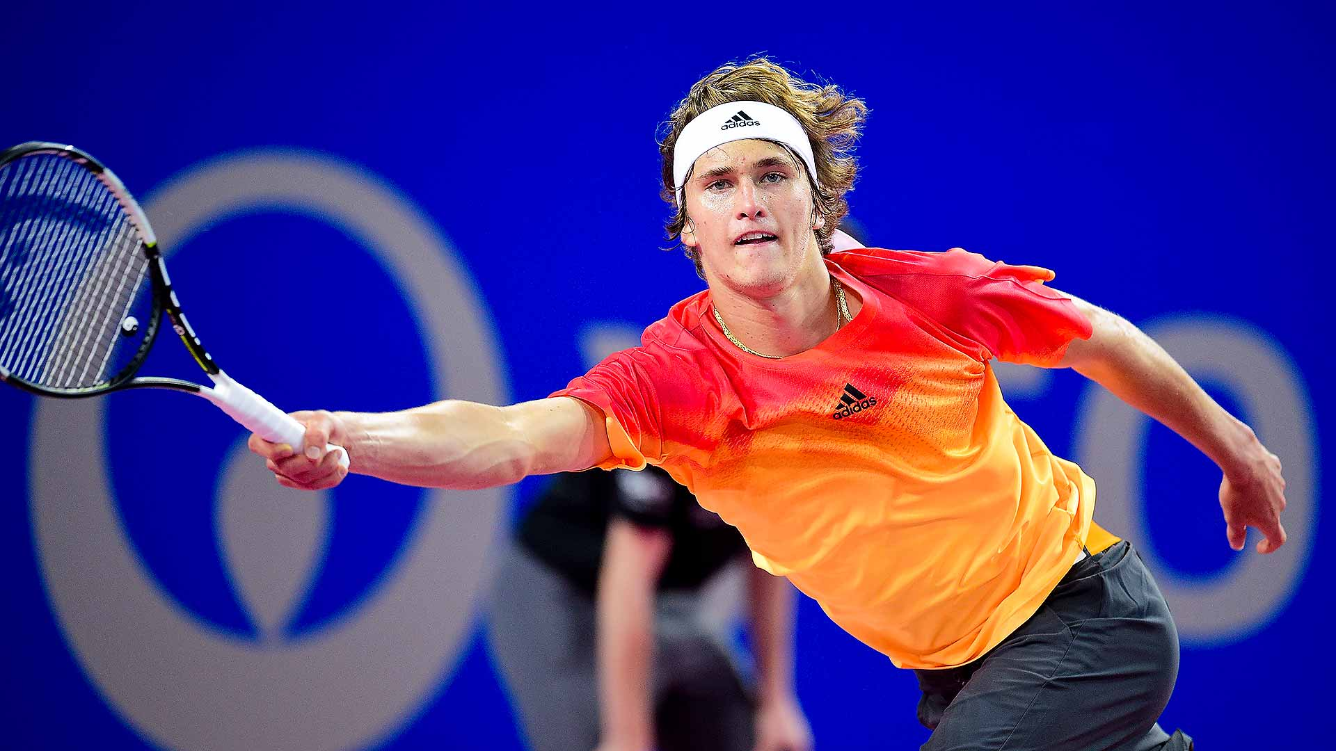 Zverev stretches for a forehand