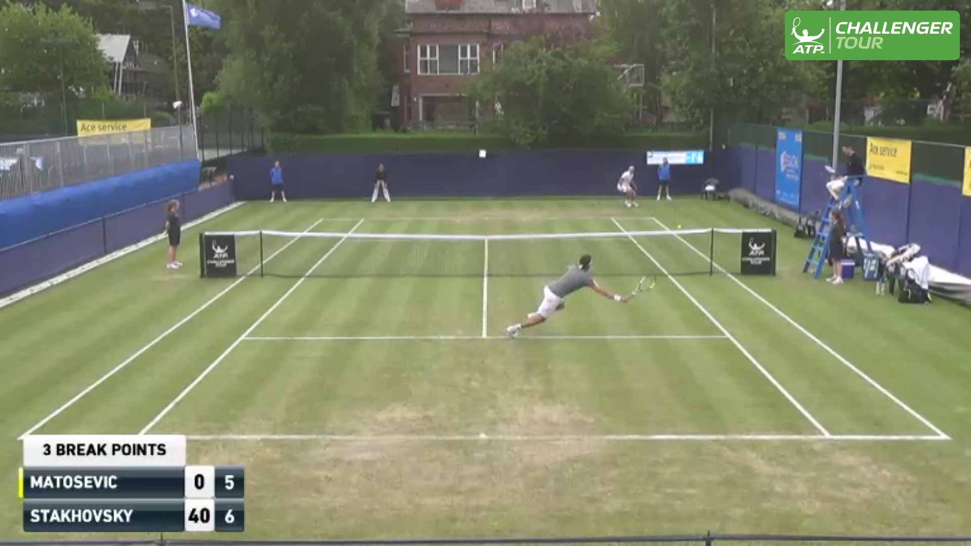 Sergiy Stakhovsky's dive volley earned hot shot honours on Tuesday at the ATP Challenger Tour event in Manchester, England.