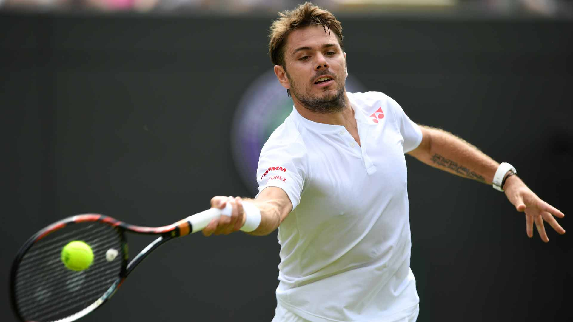 Stan Wawrinka records his 18th career victory at Wimbledon on Tuesday.