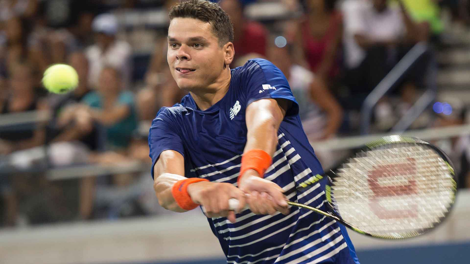 Milos Raonic downs Dustin Brown in the first round.
