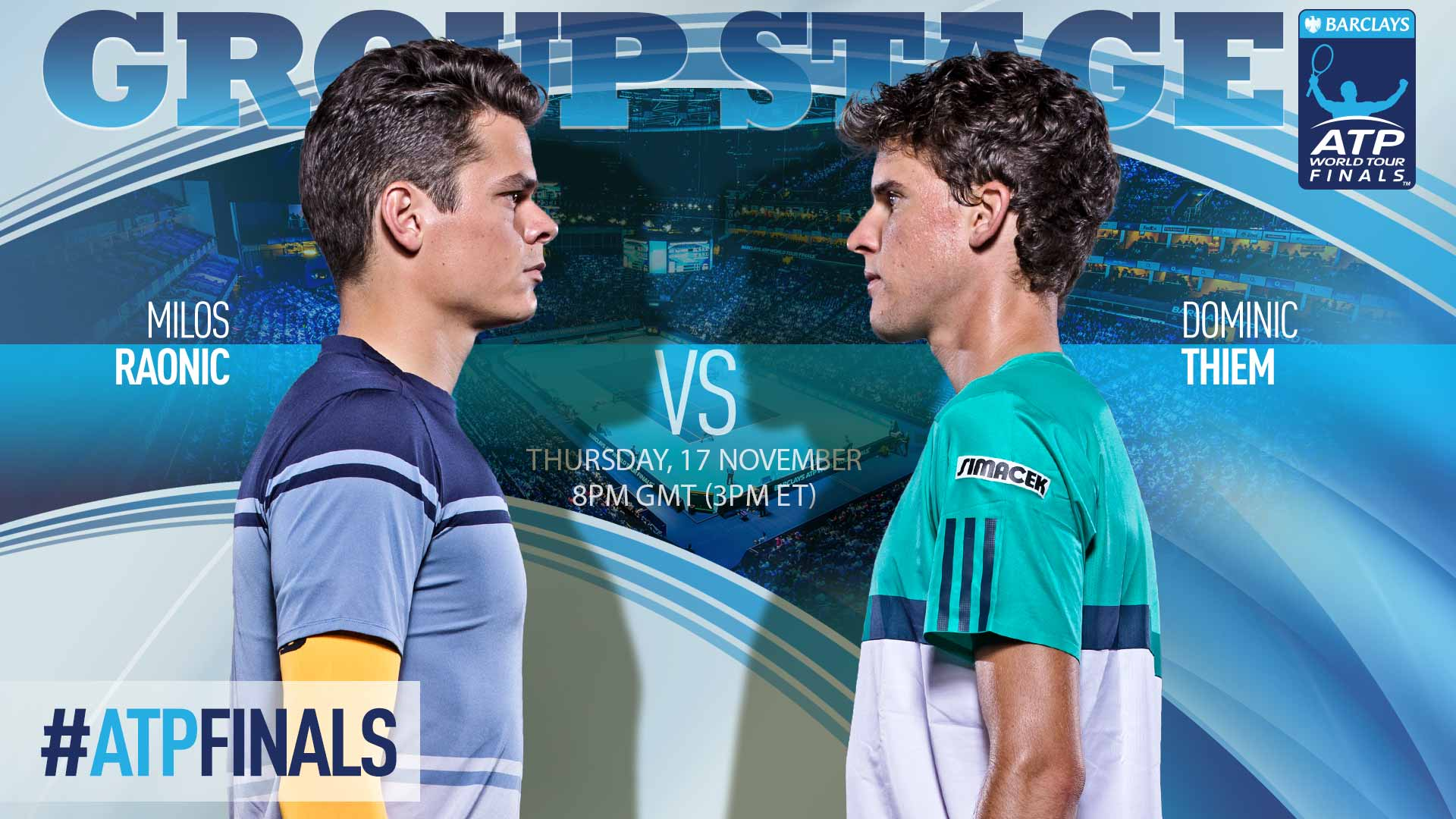 Milos Raonic battles Dominic Thiem on Day 5 of the Barclays ATP World Tour Finals.