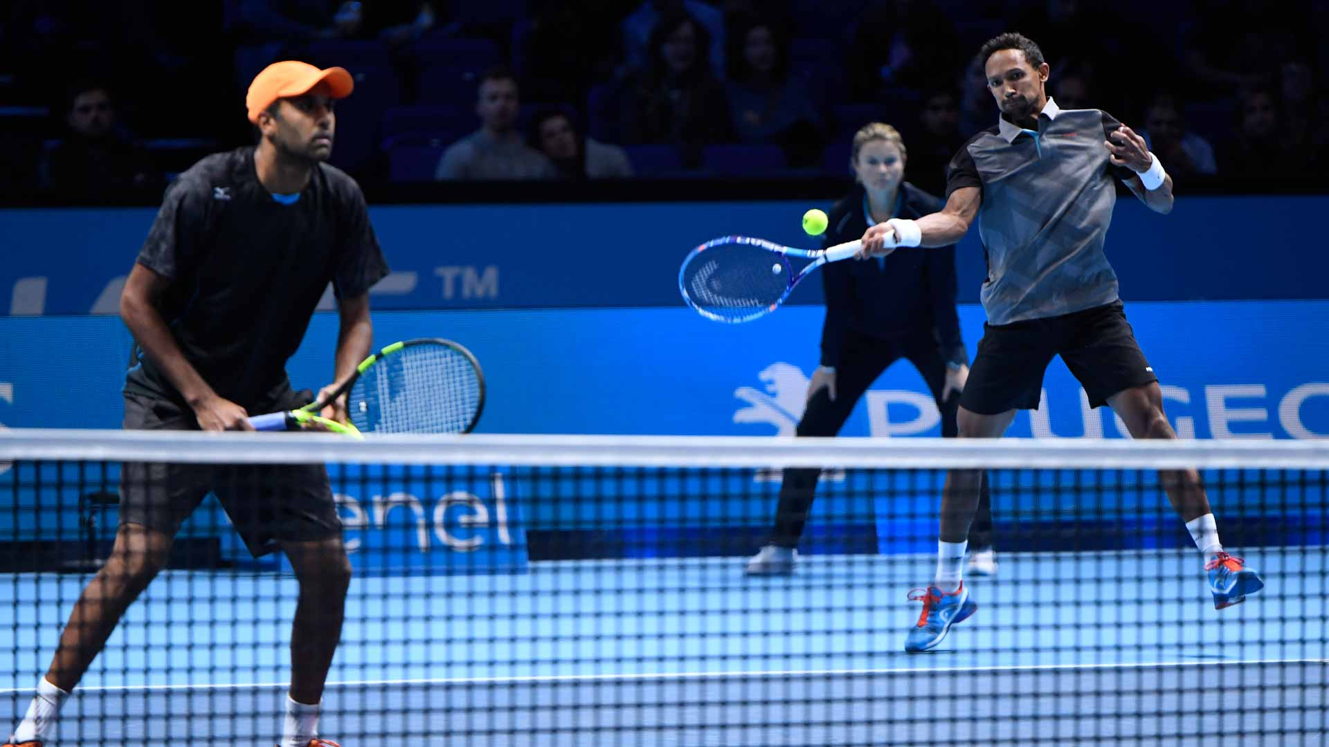 Rajeev Ram (L) and Raven Klaasen continue their top form at the Barclays ATP World Tour Finals.